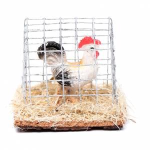 Animals for Nativity Scene: Cage with cock, Nativity Scene figurine 3 cm assorted
