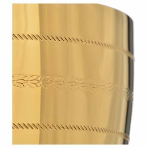 Calice e pisside  ottone con applicazione cristalli blu s6