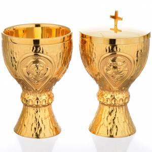 Calice et ciboire Molina laiton doré 4 évangélistes s1