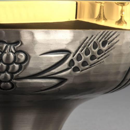 Calice pisside e patena ottone spighe croci uva s11