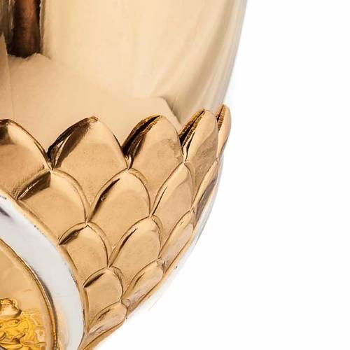 Cáliz de latón dorado lirios y espigas 3