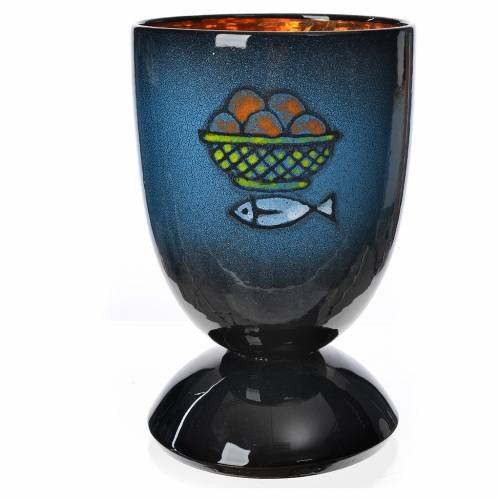 Cáliz para celebración, cerámica azul y oro s1