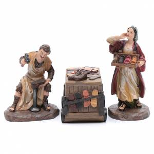 Statue per presepi: Calzolai e banco presepe da 20 cm resina set 3 pz.
