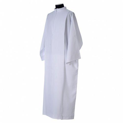 Camice bianco piegoni e colletto risvoltato 100% poliestere s4