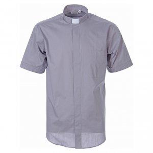 Camisas Clergyman: Camisa clergy de popelina manga corta gris claro