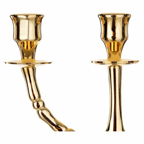 Candlestick Menorah in gold-plated brass with 7 flames s3