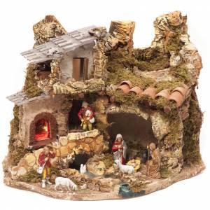 Capanne Presepe e Grotte: Capanna borgo presepe con fuoco 28x38x28 cm
