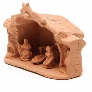 Capanna e natività terracotta naturale 11x14x7 cm s2