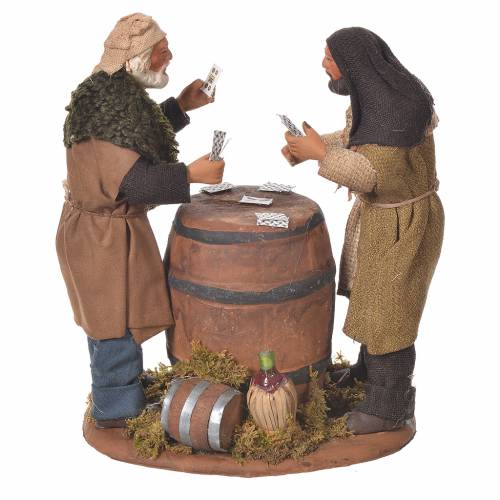 Card players with cask, Neapolitan Nativity 12cm s1