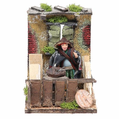 Cart driver animated figurine for Neapolitan Nativity, 10cm s1