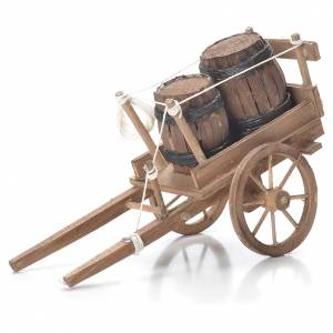 Neapolitan Nativity Scene: Cart with casks, Neapolitan Nativity 10x18x8cm