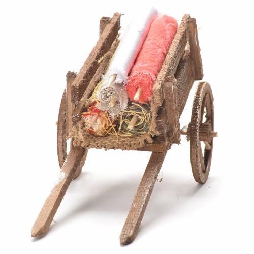 Cart with fabrics, Neapolitan Nativity 12x20x8cm s4