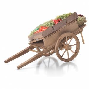 Neapolitan Nativity Scene: Cart with fruit boxes, Neapolitan Nativity 10x18x8cm