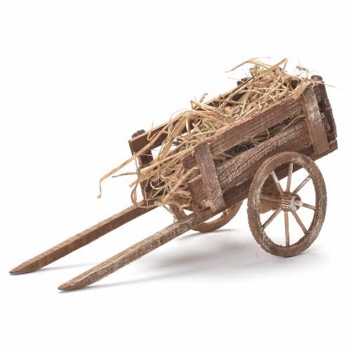 Cart with hay, Neapolitan Nativity 12x20x8cm s1
