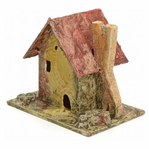 Casa con piccola torre per presepe legno stuccato s2
