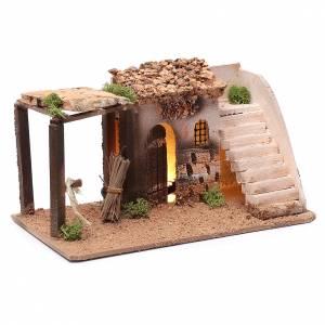Casa illuminata presepe in sughero con scala 15x25x15 s3