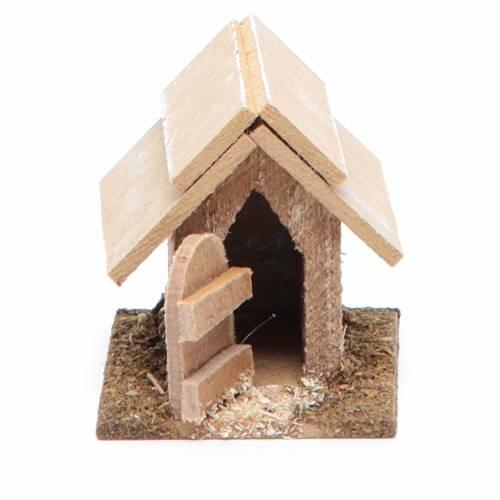 Caseta de madera para perro para belén de 10 cm s1
