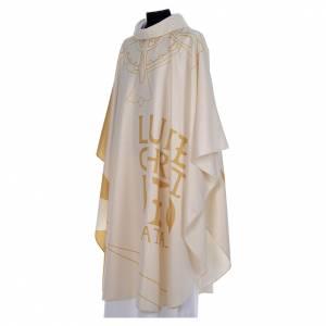 Casula liturgica con decori in oro s2
