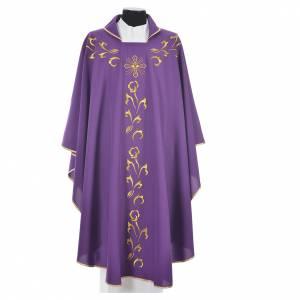 Casula liturgica con ricamo dorato e croce s3