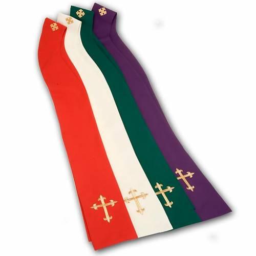Casula liturgica e stola ricamo croce grande s9