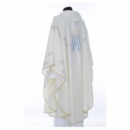 Casula ricamata simbolo mariano poliestere s3