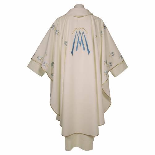 Casula ricamata simbolo mariano poliestere s2