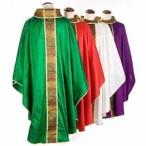 Casula sacerdotale seta 100% ricamo quadri s2