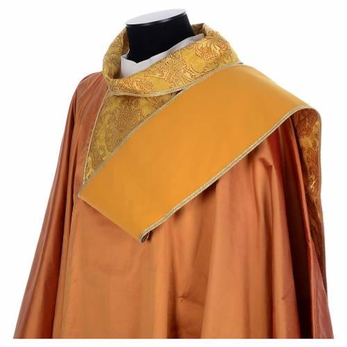 Casula sacerdotale seta oro 100% ricamo dorato s5