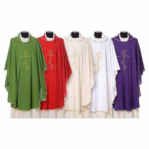 Casula tessuto super leggero Vatican poliestere ricamo croce davanti dietro s1