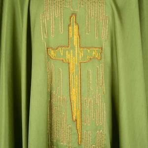 Casulla litúrgica shantung bordado cruz estilizada dorada s3