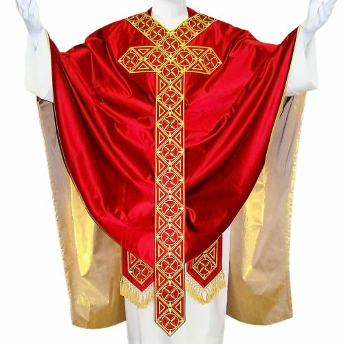Casulla medieval 100% pura seda natural cinta bordada decorada s1