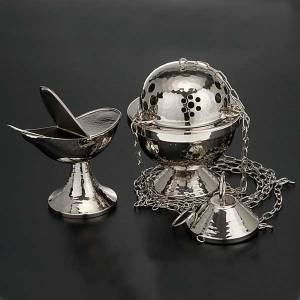 Thuribles and boats: Censer and boat in nickel plated brass smooth