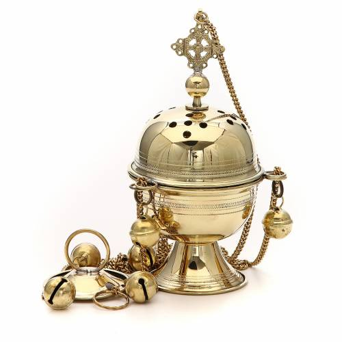 Censer in brass hand-made Bethlehem monks 20cm s1