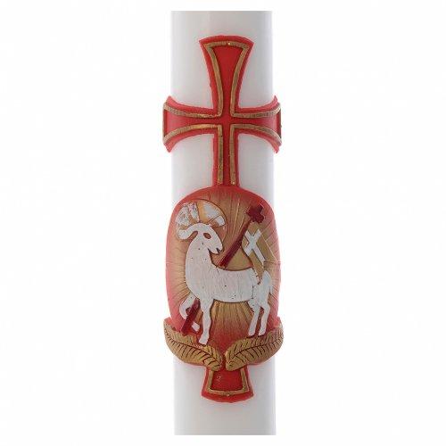 Cero pasquale Agnello croce cera bianca 8x120 cm s2
