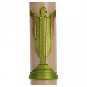 Candele, ceri, ceretti: Cero pasquale cera d'api Cristo Risorto verde 8x120 cm