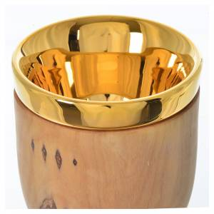 Chalice in Assisi olive wood with Deruta ceramic cup H17cm s4