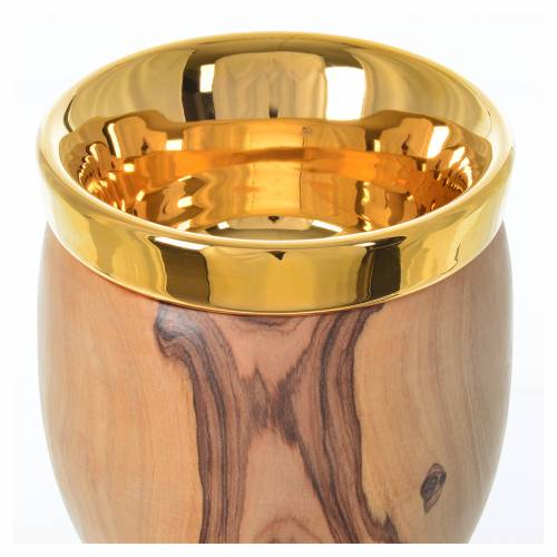 Chalice in Assisi wood with Deruta ceramic cup H19.5cm s4