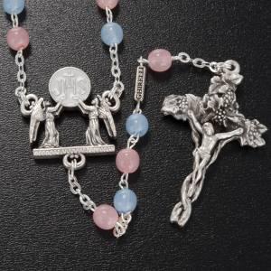 Chapelets Ghirelli Collection: Chapelet Ghirelli verre de bohême rose bleu ciel 6mm