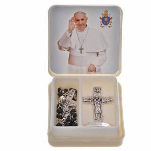 Chapelets et chapelets dix grains: Chapelet noir et croix Pape François