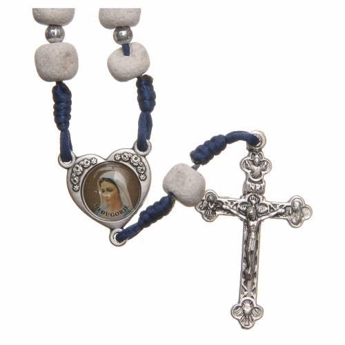 Chapelet pierre blanche de Medjugorje croix métal s1