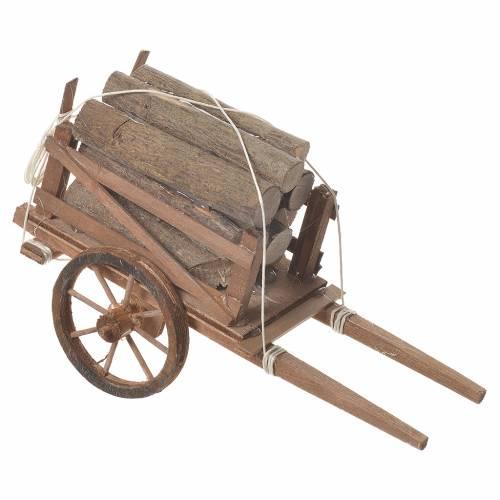 Charrette avec bois crèche napolitaine 18x6 cm s2