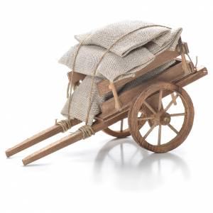 Crèche Napolitaine: Charrette avec sacs crèche napolitaine 10x18x8 cm