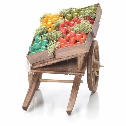 Charrette caisses de fruits crèche napolitaine 10x18x8 cm s4