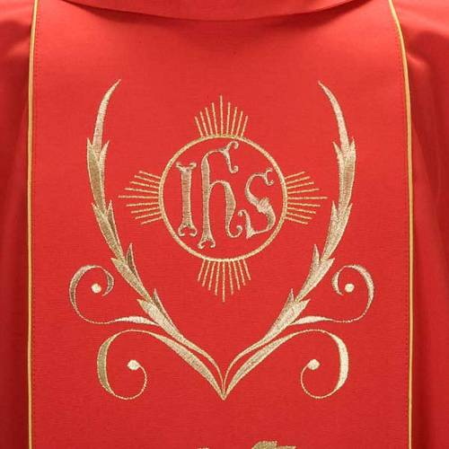 Chasuble and stole with IHS and grape leaves s3