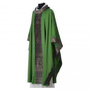Chasuble en laine avec bandes appliquées en soie et 16 agates s4