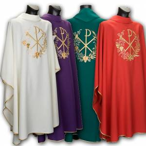 Chasubles: Chasuble et étole liturgiques, décor  Chi-Rho