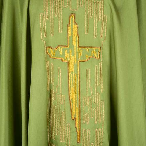 Chasuble golden stylized cross shantung s3