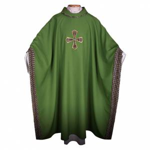 Chasubles: Chasuble in 100% polyester with inserts in fabric and embroidered cross