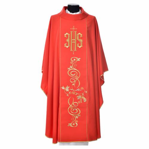Chasuble in 80% polyester 20% wool, IHS golden embroidery s7
