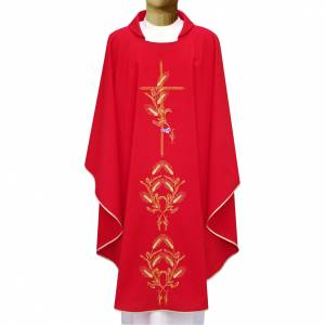 Chasubles: Chasuble in polyester with gold cross and wheat